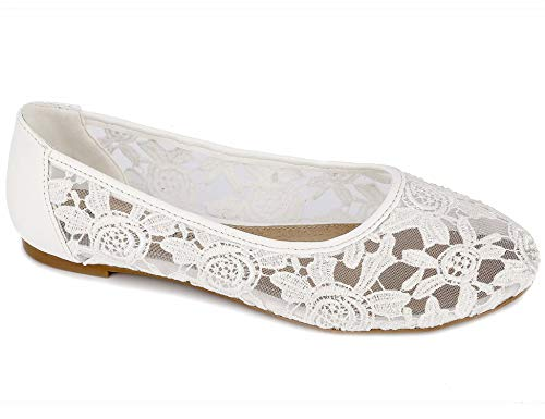Greatonu Damen Geschlossene Ballerinas Spitze Flache Sandalen Übergrößen Weiß Größe 42EU