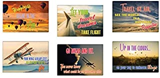 Creanoso Air Travel Inspirational Sayings Postcards (12-Pack) – Air Adventures Greeting Card Giveaways for Travelers, Adve...