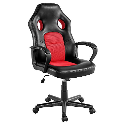 Yaheetech Gaming Chair High Back Ergonomic Racing Chair Office Reclining Chair Swivel Chair Red