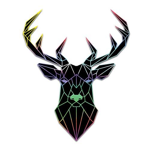 Finest Folia 2 pegatinas poligonales con diseño de animales de origami, geométricas, autoadhesivas, arte para coche, moto, ordenador portátil, frigorífico, pared, decoración R117 (ciervo)