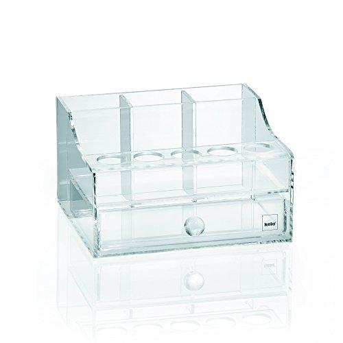 Kela 21967 Melina Boîte de Cosmétique Rangement Maquillage Plastique Transparent 15,5 x 13,5 x 9 cm