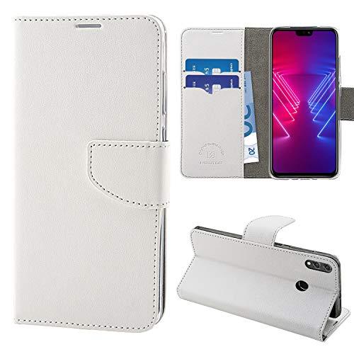 N NEWTOP Cover Compatibile per Huawei Honor View 10 Lite, HQ Lateral Custodia Libro Flip Chiusura Magnetica Portafoglio Simil Pelle Stand (Bianca)