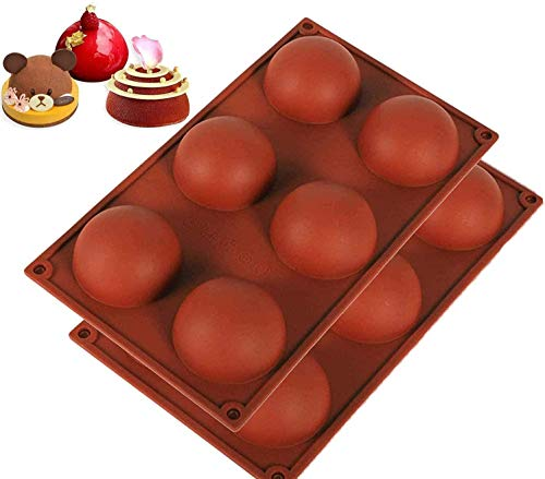 Silicone Mold for Chocolate, Cake, Jelly, Pudding, Round Shape Half Candy Molds Non Stick, BPA Free Silicone Molds for Baking (2 piece)