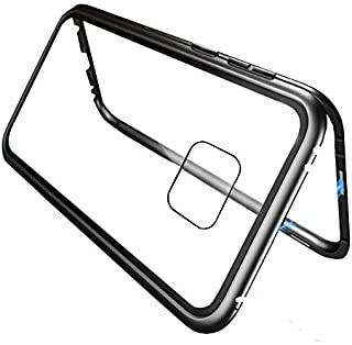 for Huawei mate 20 pro Case 360 degree full cover 2 pieces metal frame Magnetic tempered glass back case - Black