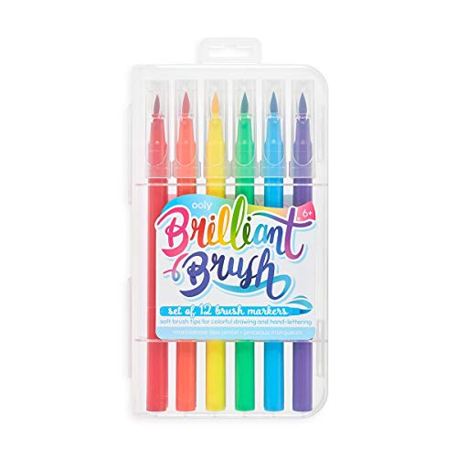OOLY, Brilliant Brush Markers, Ideal for Calligraphy, Lettering, and Coloring, Soft Fine Brush Tips - Set of 12