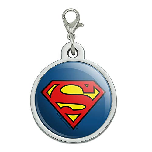 GRAPHICS & MORE Superman Classic S Shield Logo Chrome Plated Metal Pet Dog Cat ID Tag