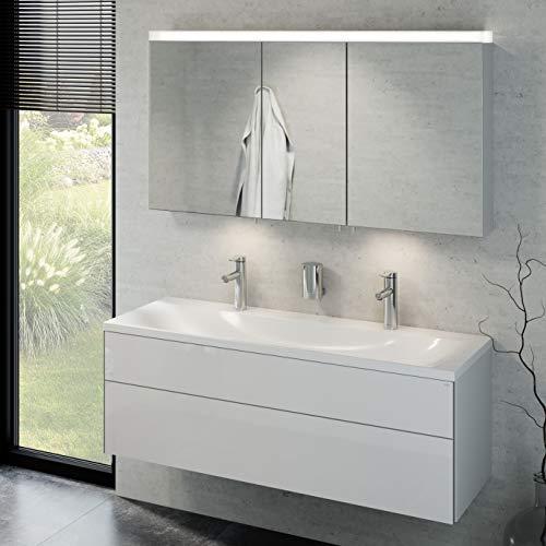 Keuco Badmöbelset mit Doppelwaschtisch, Waschbeckenunterschrank mit Frontauszug, LED Spiegelschrank dimmbar, Badezimmermöbel Set mit Spiegelschrank, 3 Türen, Breite 130 cm Royal Reflex
