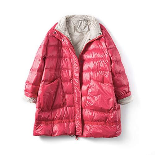 FAPROL-Down Jackets Long Doudoune pour Femmes A-Ligne Manteaux Chaudes Veste Col en Duvet De Canard Blanc Manteau Mode Grande Poche Rose Red L