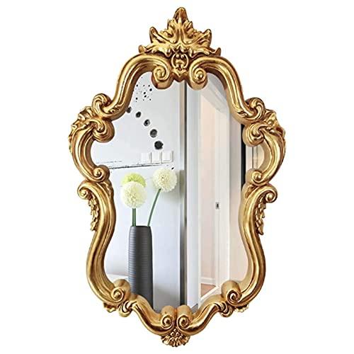 QHHALXZ Espejo de tocador de baño, espejo decorativo vintage americano de pared con forma de escudo dorado, espejos colgantes para dormitorio, sala de estar, aparador, decoración del hogar
