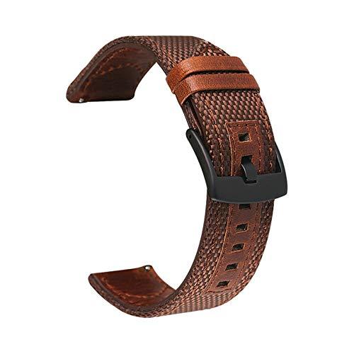 LAAGFC Correa de piel auténtica de nailon de 20 mm, 22 mm, 24 mm, para Samsung Galaxy Watch Active2 Gear S2 S3 para Huawei GT 2 Amazfit Bip (color de la correa: marrón, ancho de la correa: 24 mm)