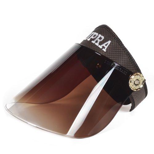 Women Summer Solar Protection Cap Visor Sun Hat Anti-UV Cap (Brown)