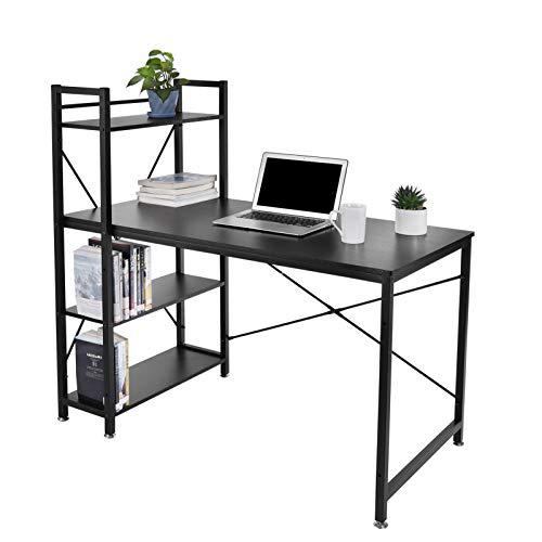 Bellanny Escritorio 120x60x120cm, Mesa de Ordenador con 4 Niveles de Estantes, Mesa de Trabajo de Estilo Industrial Estructura Metálica, Escritorio para Estudio, Oficina, Dormitorio (Negro)
