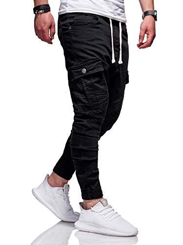 MT Styles Biker Jogg-Jeans Chino Hose RJ-2276 (Schwarz, W32)