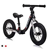 BAIGOR 12' Children's Balance Bike - Aluminum Alloy Lightweight Frame No Pedal Exercise Shock Absorption Bike for Toddlers Kids Ages 18 Months to 6 Years (Black)