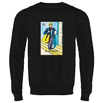 Pop Threads El Musico Musician Loteria Card Mexican Bingo Black S Crewneck Sweatshirt for Men