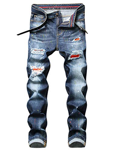 IDEALSANXUN Mens Stretch Jeans Pattern Ripped Skinny Biker Jeans Denim Pants (32, Blue 725)