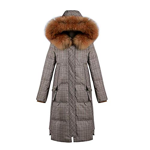LXZ#Homegift-mantel van katoen katoenen mantel lange winterjas in bruin geruit verdikte dames donsjas