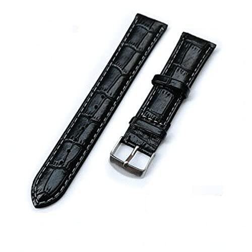 XKMY Correas de reloj de piel sintética de 20 mm, 22 mm, 18 mm, resistentes a las manchas, color negro y marrón y accesorios de reloj (color de la correa: A, ancho de la correa: 20 mm)