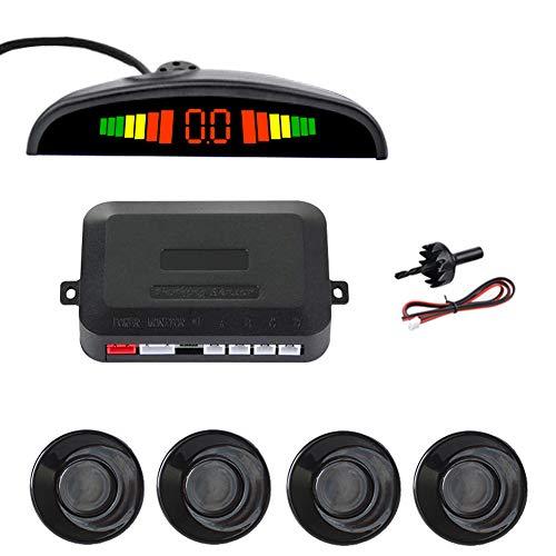 SINOVCLE Car LED Parking Sensor Kit 4 Sensors 22mm Backlight Display Reverse Backup Radar Monitor System 12V (Black Color)