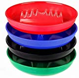 Set of 4 Assorted Colors - Round Plastic Melamine Cigarette Cigar Ashtray Tabletop Ash Tray By Escest