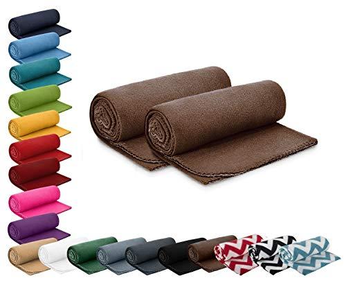 wometo 2er Set Polar- Fleecedecke 130x160 cm ca. 400g wertiges Gewicht mit Anti-Pilling Kettelrand Farbe braun in vielen bunten Farben