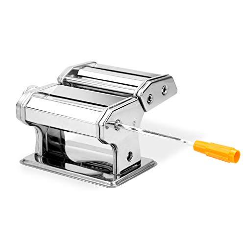 Prensa y cortadora manual de pasta | Fabricante de pasta fresca | Batidoras de mano | Máquina de laminado de pasta ajustable | Cortadores de 2 mm y 5 mm | Abrazadera de mesa incluida | M&W