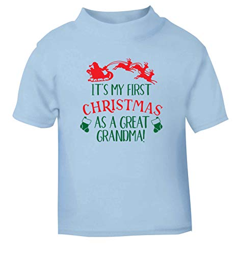 Flox Creative T-Shirt pour bébé Inscription First Christmas Great Grandma Noir - Bleu - 0-3 Mois