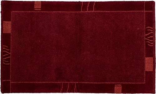 Teppich Tibeter Modern ca. 95 x 155 cm Rot handgeknüpft Schurwolle Modern hochwertiger Teppich