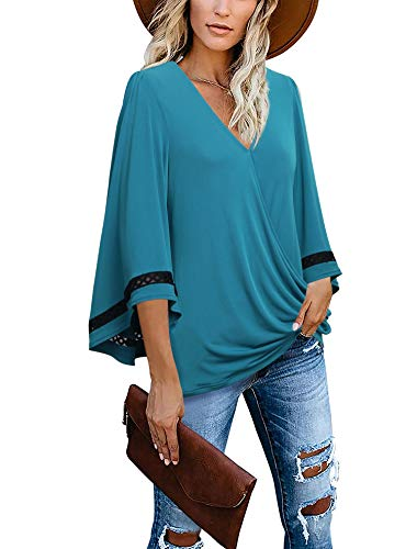 Messic Womens Casual Solid V Neck Patchwork Lace Down Bell Long Sleeves Shirts Tops Loose Pullover Blouse Dark Cyan XX-Large