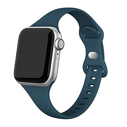SWEES Sport Band Compatible with iWatch 38mm 40mm, Narrow Soft Silicone Slim Thin Small Replacement Wristband Strap Compatible for iWatch Series 6 5 4 3 2 1 SE Sport Edition Women Men, Pacific Green