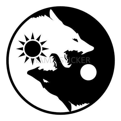 MAMA STICKER Bumper YIN YANG Wolf Chinese KUNG FU Amulet Tattoo Decal Symbol Sign Helmet Motorcycle Luggage Laptop Notebook Truck Water Bottle Scrapbook Tablet Cooler Gift