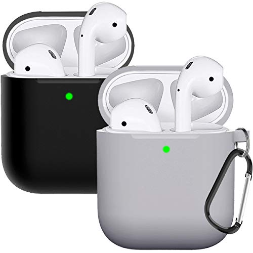 Compatible with AirPods Case Cover Silicone Protective Skin for Airpods Case 2&1 (2 Pack) Black/Gray