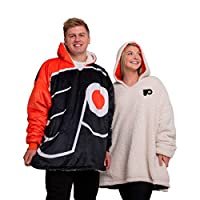 NHL Philadelphia Flyers Unisex Reversible Oversized Sherpa Hoodie Sweatshirt Colorblock HoodeezReversible Oversized Sherpa Hoodie Sweatshirt Colorblock Hoodeez, Colorblock, One Size