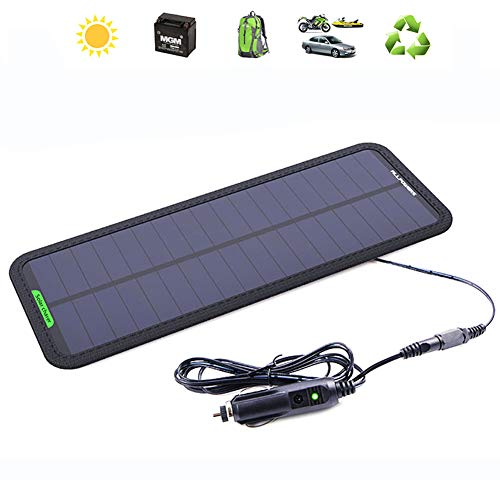 QWERDF 7,5 vatios 18 voltios Impermeable Cargador de batería Solar de Alta eficiencia de Panel Solar para Motocicletas, ATV, Barco, RV, con Pinzas de cocodrilo