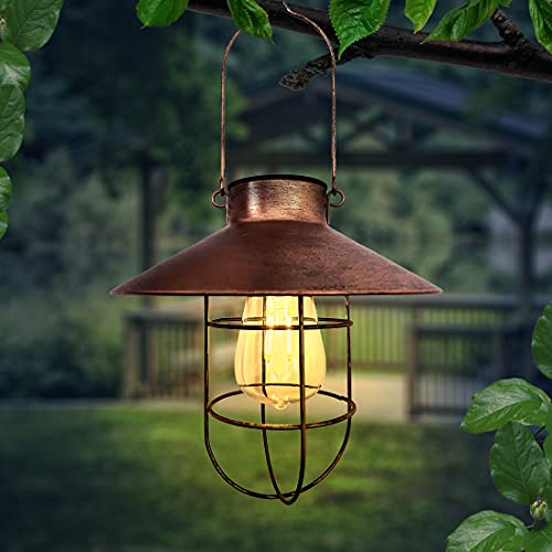 Solar Retro Laterne, Außen Hängend Metall dekorative Lichter, LED-Lampen für Outdoor Garten Hof Terrasse Baumdekoration, Solar Landschaftsbeleuchtung für die Veranda Weg Terrasse Hof (Kupfer)