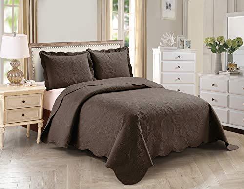 Home Collection 2-teiliges Bettwäsche-Set für Doppelbetten und Doppelbetten in XL mit Prägung, leicht, solide, dunkelbraun