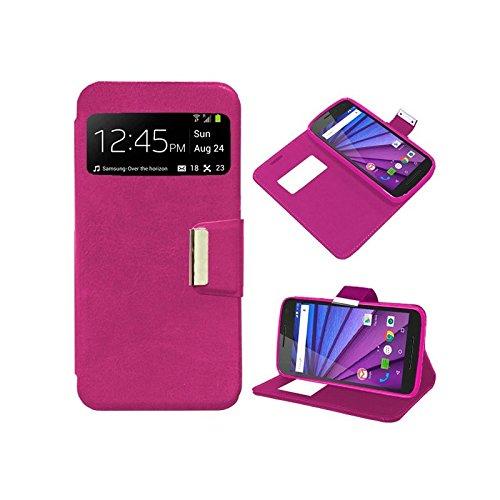 iGlobalmarket Funda Flip Cover Tipo Libro con Tapa para Motorola Moto G 3ª Generación Liso Rosa