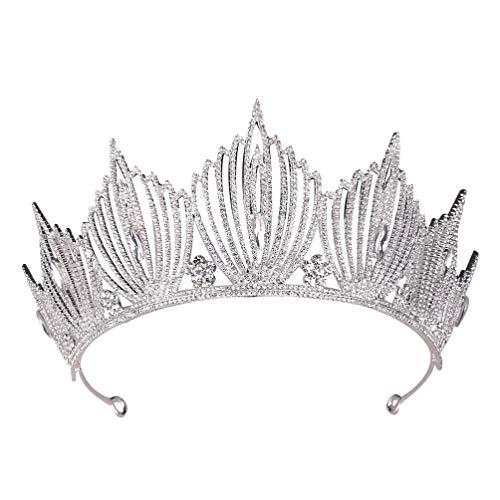 Lurrose corona nupcial de la boda rhinestone corona vintage tocado barroco para...