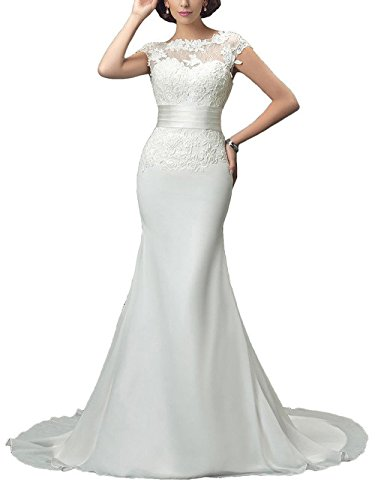 SDRESS Women's Wedding Dress Cap Sleeve Crew Neck Appliques Long Mermaid Evening Dress Ivory Size 16 (Apparel)