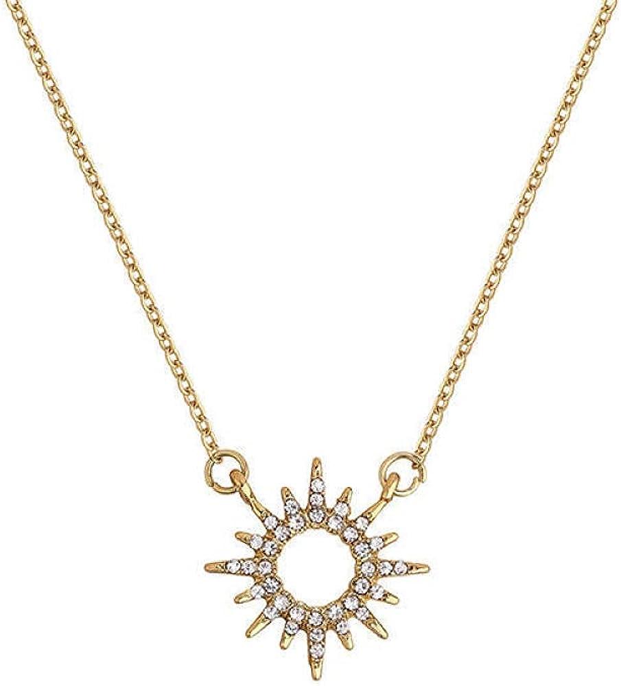 Sun discount Necklace Female Silver Flash Temperament Diamond Clav Elegant Simple