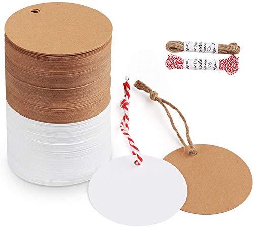 Etiquetas redondas,BETOY Etiquetas de regalo de 200 PCS,Etiquetas Marrón y blancas con hilo de yute gratuito de 20 metros para etiquetas colgar artesanales,etiquetas de precio,etiquetas de bricolaje