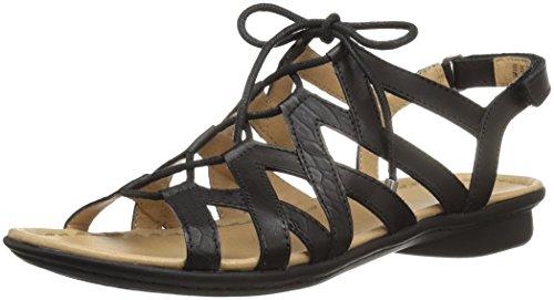 Naturalizer Women's Whimsy Gladiator Sandal, Black, 9 W US