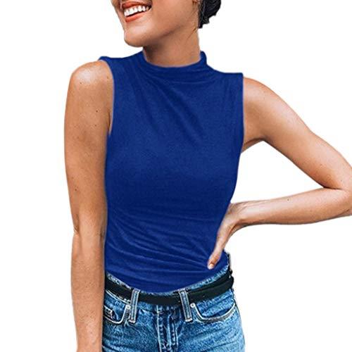 Chaleco de verano para mujer, sin mangas para mujer, color liso, blusa informal, camiseta de tallas grandes, túnicas de manga corta para mujer, para el día de Pascua, San Patricio, color azul y XL