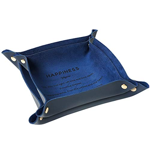 CHAMER Valet Trays Leather for Men and Women-Leather Jewelry Trays Personalized Desk Organizer for Jewlery Key Cosmetics Glasses Headphone Wallet-Office/Home Use(Blue)
