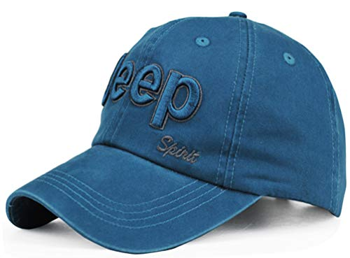 Jeep Unisex Metal Logo Cadet Military Cap Twill Army Corps Hat Flat Top Cap Outdoor Sports Cap Hat, Blue, Adjustable