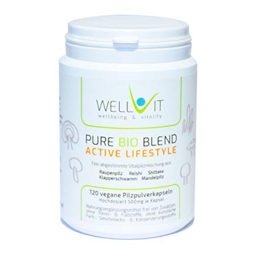 Pure Bio Blend Active Lifestyle 120 cápsulas, cada una de 500 mg de mezcla de hongos medicinales hecha de Cordyceps Reishi Shiitake Grifola Agaricus de la agricultura orgánica de la UE, vegan