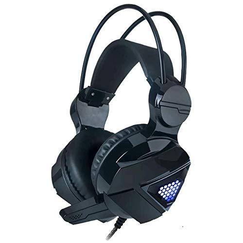 Gaming Gaming Headset, Casque stéréo Portable avec Caisson de Basses, Bruit Casque avec Microphone Cancelling, USB7.1 Canal (Color : Black)