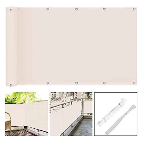 TBCWRH Malla Protectora Balcon,Redes para Balcones,Protección de Privacidad HDPE Protección UV, Resistente al Viento y Transpirable,con Cables y Cuerdas, 90 x 500cm,Blanco Marfil