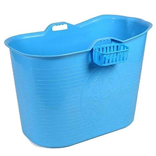 FlinQ Bañera Azul | Bañera portátil para adultos | Ideal para cuartos de baño pequeños | Bañera Adultos XL y Niños | Bañera de exterior | Bañera de plástico portátil para ducha
