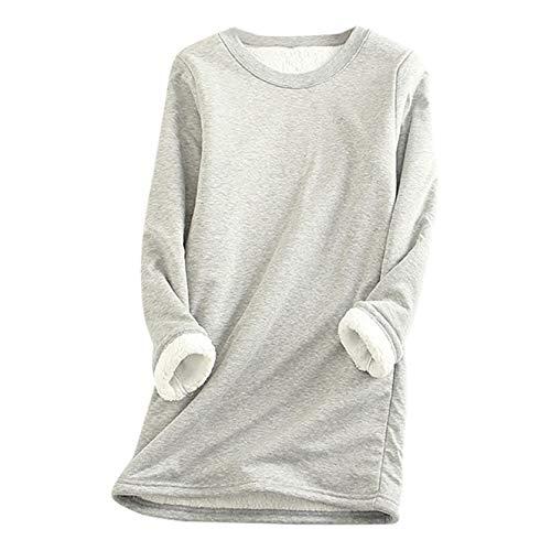 Mousmile Women Thermal Underwear Winter Warm Thick Sherpa Fleece Lined Undershirt Long Johns Tees Blouse Top Loungewear (Gray, S)